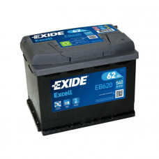 Exide Excell 62Ah 540A EB620 R+
